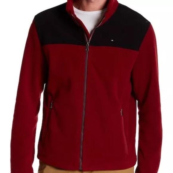 94db7979 Tommy Hilfiger Jackets & Coats | Maroon Black Polar Fleece Jacket ...